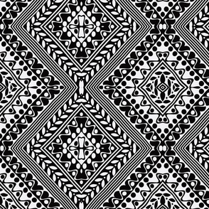 Tribal Diamonds Black & White