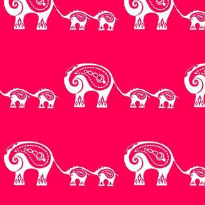 Indian Elephants pink