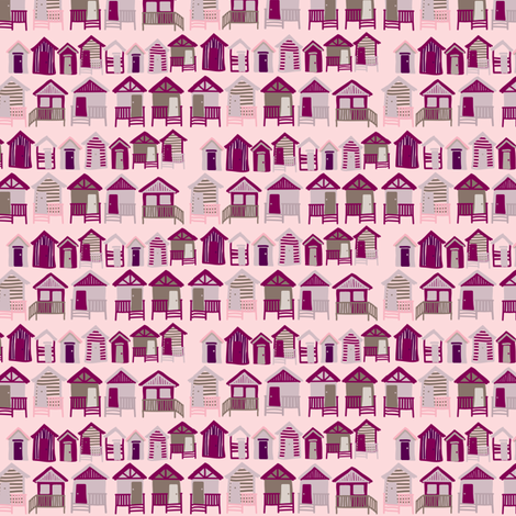 beach_huts_wine fabric by owls on Spoonflower - custom fabric
