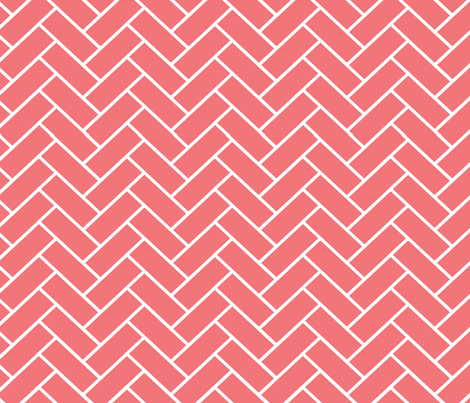 Coral_Herringbone fabric by designedtoat on Spoonflower - custom fabric