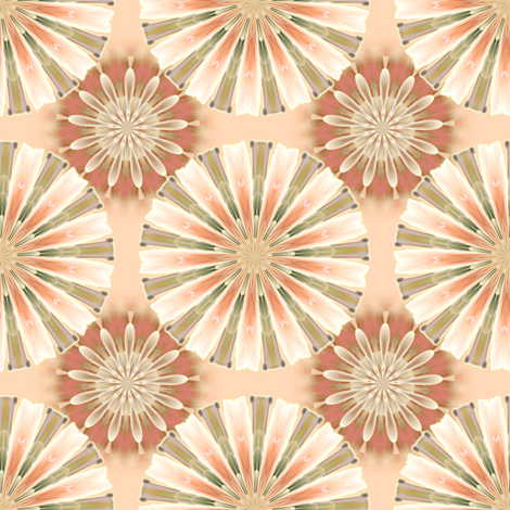 Asters in peach fabric by joanmclemore on Spoonflower - custom fabric