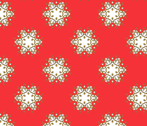 Pomegranate Medallion in red fabric by joanmclemore on Spoonflower - custom fabric