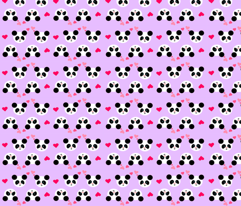 Panda Love Lilac Small fabric by johanna_lange_designs on Spoonflower - custom fabric