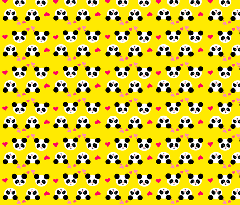 Panda Love Yellow Small fabric by johanna_lange_designs on Spoonflower - custom fabric