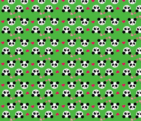 Panda Love Green Small fabric by johanna_lange_designs on Spoonflower - custom fabric