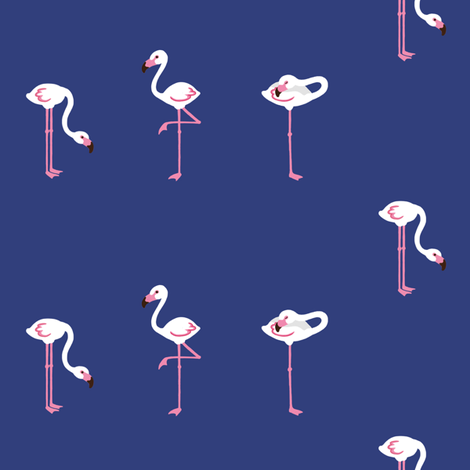 flamingoes blue small fabric by johanna_lange_designs on Spoonflower - custom fabric