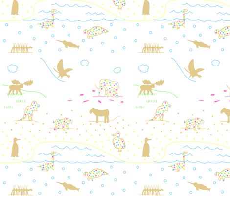 Extinct Animal Crackers Scene fabric by modgeek on Spoonflower - custom fabric