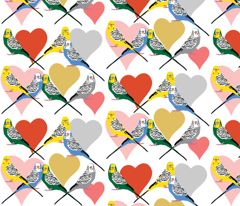 I Heart Budgies - Multi fabric by owlandchickadee on Spoonflower - custom fabric
