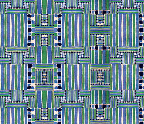 Primitive stripes and blocks in blues and greens fabric by whimzwhirled on Spoonflower - custom fabric