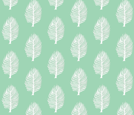 mint green and white feather fabric by designkat on Spoonflower - custom fabric
