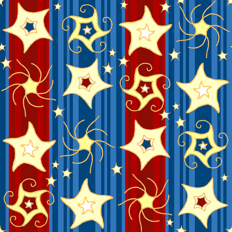 Embroidered_Swirling_and_Twirling_Stars_on_Stripes blue red C fabric by khowardquilts on Spoonflower - custom fabric