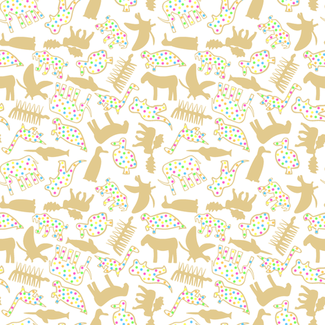 Extinct Animal Crackers Ditsy fabric by modgeek on Spoonflower - custom fabric