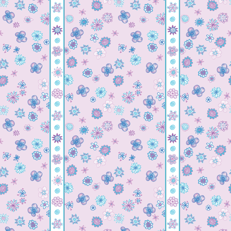 Wee Flowers: Stripe and Scatter - pale lavender fabric by tallulahdahling on Spoonflower - custom fabric