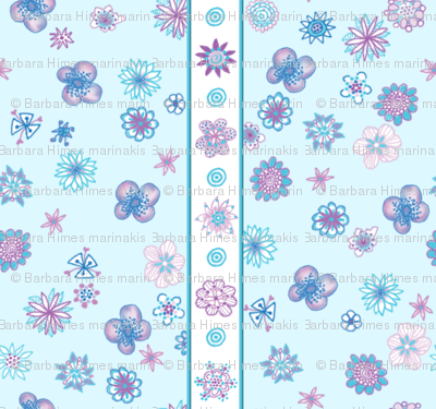 Wee Flowers: Stripe and Scatter - pale aqua blue