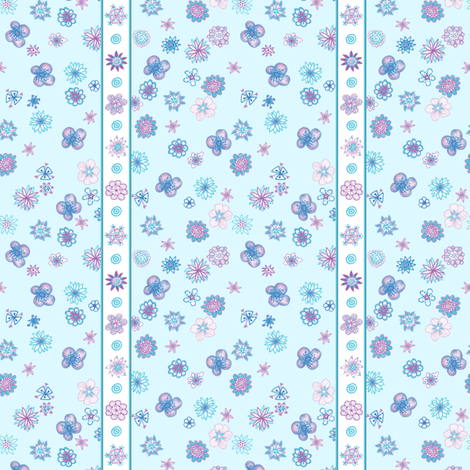 Wee Flowers: Stripe and Scatter - pale aqua blue fabric by tallulahdahling on Spoonflower - custom fabric