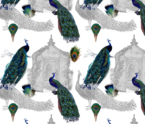Peacocks in the Garden fabric by victoriagolden on Spoonflower - custom fabric