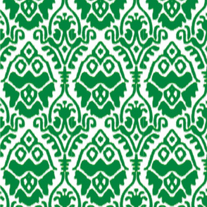 Green and White Ikat