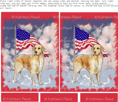 Cut and sew Yard flag with golden retriever