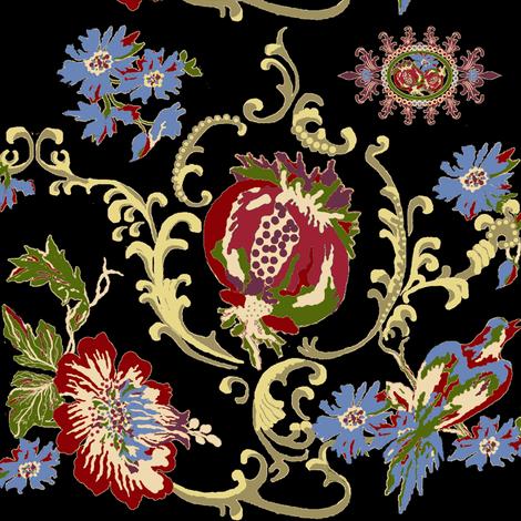 paradise rococo / black fabric by paragonstudios on Spoonflower - custom fabric