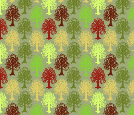 Trees in Forest Moss fabric by creative_merritt on Spoonflower - custom fabric