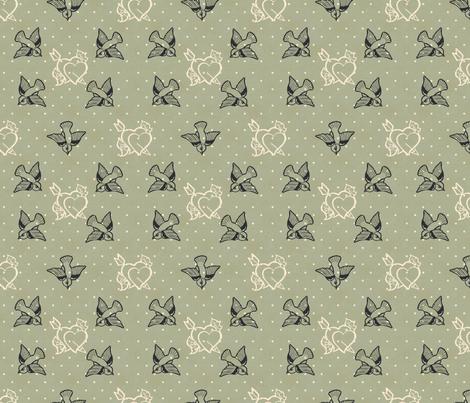 Dove Grey Tattoo fabric by cherryandcinnamon on Spoonflower - custom fabric