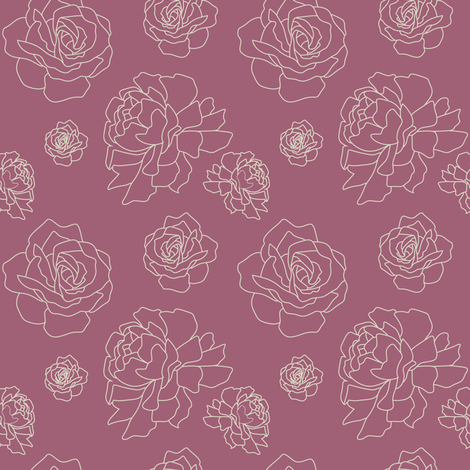 Roses and Peonies: Raspberry fabric by frontdoor on Spoonflower - custom fabric