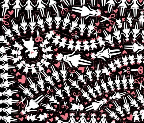 paperdolls-pink fabric by danab78 on Spoonflower - custom fabric