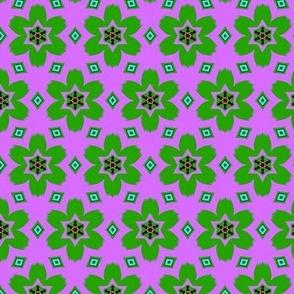 Retro Floral Green & Purple