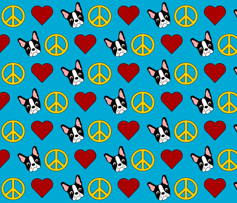 Peace, Love & Boston Terriers! fabric by missyq on Spoonflower - custom fabric