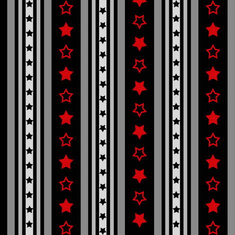 Red and Black Stars and Stripes fabric by poshcrustycouture on Spoonflower - custom fabric