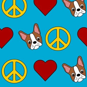 Peace, love & colorful Boston Terriers