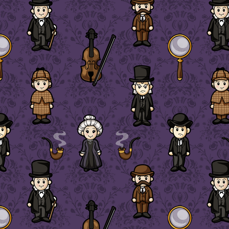 Cutesy Holmes (Purple) fabric by jaana on Spoonflower - custom fabric