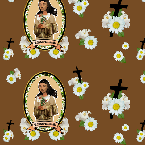 Saint Kateri Tekakwitha fabric by magneticcatholic on Spoonflower - custom fabric
