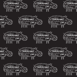 Hippo Calligram White on Black