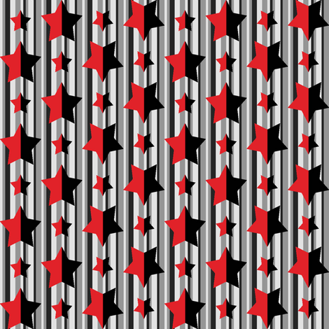 Red and Black Stars and Stripes 2 fabric by poshcrustycouture on Spoonflower - custom fabric