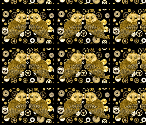 Robo Owls and Cogs Tiles fabric by nezumiworld on Spoonflower - custom fabric