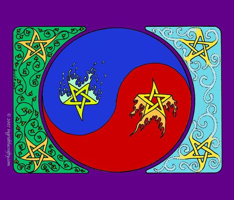 elemental stars yin yang 1 fq banner fabric by ingridthecrafty on Spoonflower - custom fabric