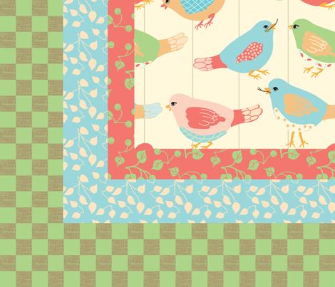 Here_Birdie__Birdie_quilt_top fabric by lana_gordon_rast_ on Spoonflower - custom fabric