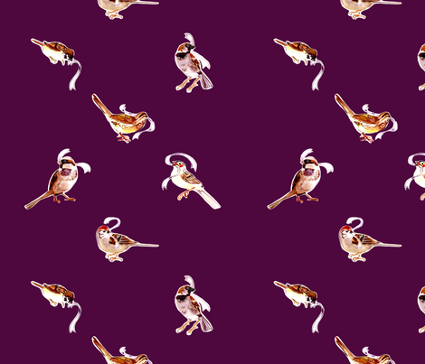 Fall Sparrows in Plum fabric by abracadabra on Spoonflower - custom fabric