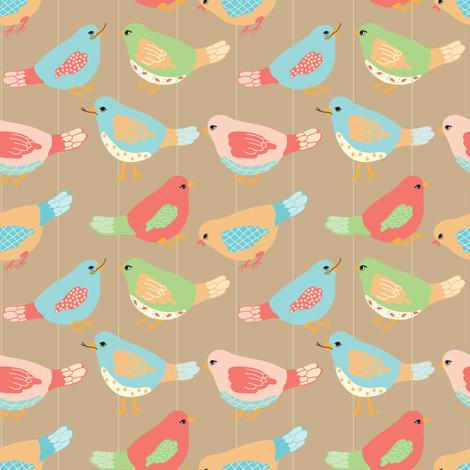 Here Birdie, Birdie_1_Brown fabric by lana_gordon_rast_ on Spoonflower - custom fabric