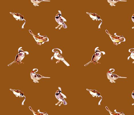 Fall Sparrows in Spice fabric by abracadabra on Spoonflower - custom fabric