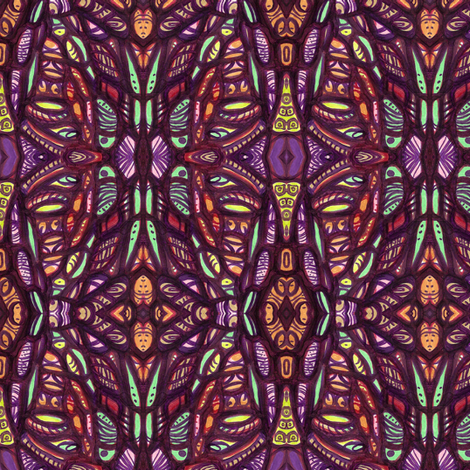 cellular in purples and greens fabric by kcs on Spoonflower - custom fabric