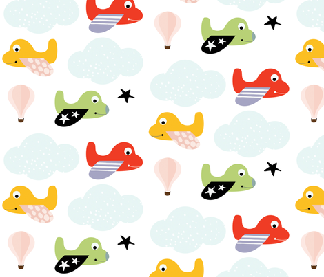 Smiling Planes fabric by suryasajnani on Spoonflower - custom fabric