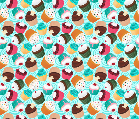 Cupcakes and Swirls Collection - Cupcakes on Blue by JoyfulRose fabric by joyfulrose on Spoonflower - custom fabric
