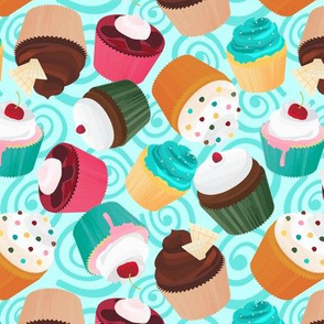 Cupcakes and Swirls Collection - Cupcakes on Blue by JoyfulRose