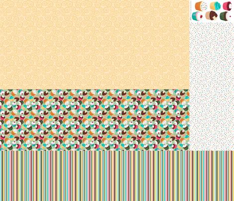 Cupcakes and Swirls Collection - 1st Birthday Pinafore -Green and Yellow by JoyfulRose fabric by joyfulrose on Spoonflower - custom fabric