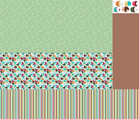 Cupcakes and Swirls Collection - 1st Birthday Pinafore - Blue and Green by JoyfulRose fabric by joyfulrose on Spoonflower - custom fabric