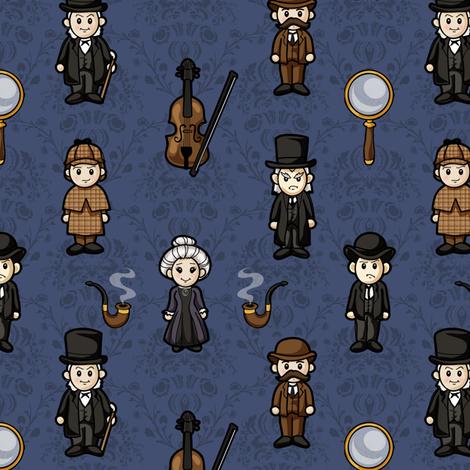 Cutesy Holmes (Blue)  fabric by jaana on Spoonflower - custom fabric