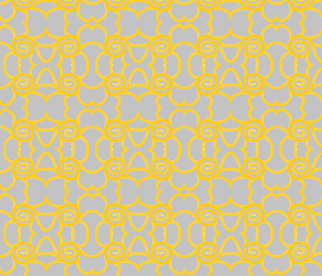 yellow swirls on grey fabric by weebeastiecreations on Spoonflower - custom fabric