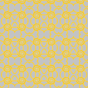 yellow swirls on grey